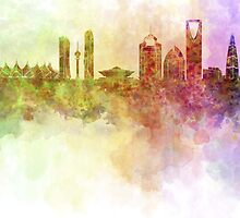 Riyadh skyline in watercolour background  by paulrommer