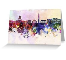 Washington DC skyline in watercolor background  Greeting Card