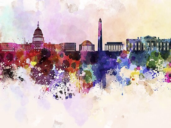 Washington DC skyline in watercolor background  by paulrommer
