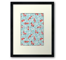 Fox and Bunny Pattern Framed Print