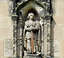 Figure of St Wystan above Porch Door  by Rod Johnson