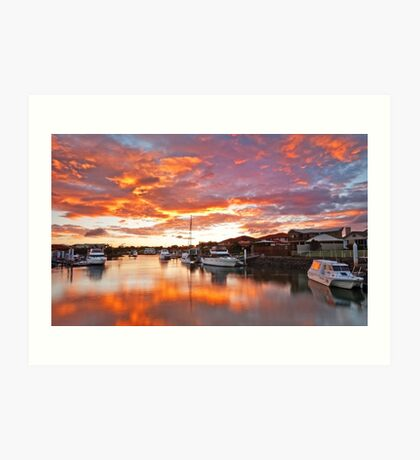 Fire on the Canal -Oxley Canal, Raby Bay Qld Art Print