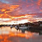 Fire on the Canal -Oxley Canal, Raby Bay Qld by Beth  Wode