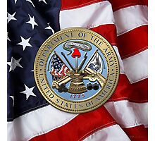 U. S. Army Seal over American Flag Photographic Print
