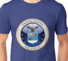 U.S. Air Force - USAF Emblem 3D over Flag Unisex T-Shirt