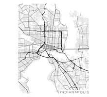 Indianapolis Map, USA - Black and White Photographic Print