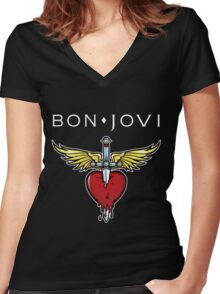 bon jovi best logo vector dolly Women's Fitted V-Neck T-Shirt