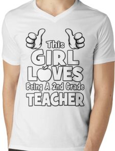 This Girl Loves Being A 2nd Grade Teacher Mens V-Neck T-Shirt
