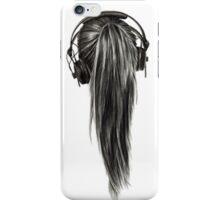 Ponytail Headphones Pencil Drawing iPhone Case/Skin