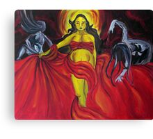 The Goddess and Her Mad Dancers Canvas Print
