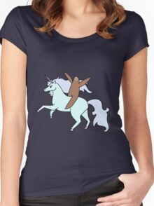 Sloth Riding a Unicorn Women's Fitted Scoop T-Shirt