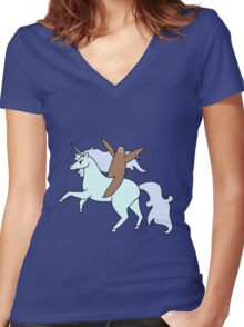 Sloth Riding a Unicorn Women's Fitted V-Neck T-Shirt