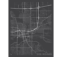 Des Moines Map, USA - Gray  Photographic Print