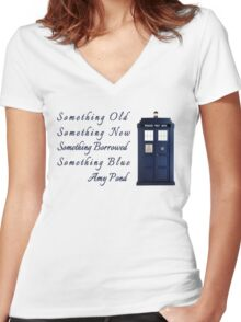 Doctor Who - Amy's Wedding Something Blue Women's Fitted V-Neck T-Shirt
