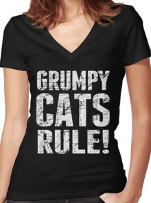 Grumpy Cats Rule! Women's Fitted V-Neck T-Shirt