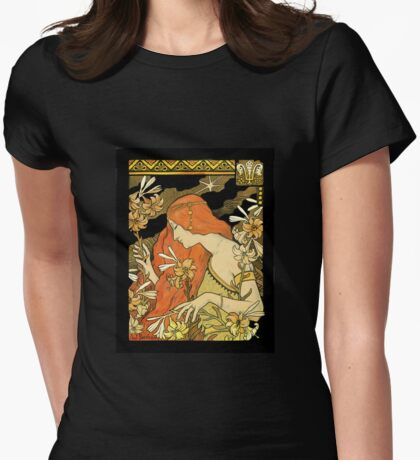 Nouveau Woman Among the Lilies Womens Fitted T-Shirt