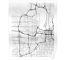Kansas City Map, USA - Black and White Poster