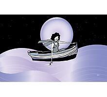Midnight Moonlit Sail  Photographic Print