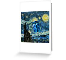 British Blue phone box painting Greeting Card