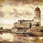 A digital painting of the Vyborg Castle. Finland founded 1290 by Dennis Melling