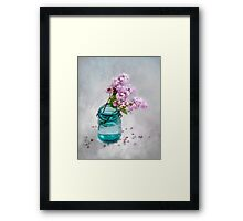 Lilacs in a Green Glass Jar Framed Print