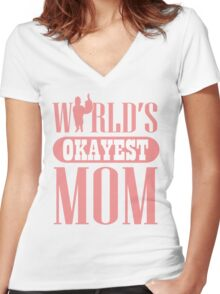 World's okayest mom Women's Fitted V-Neck T-Shirt