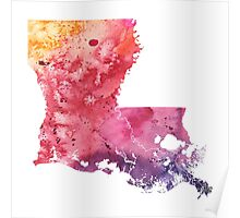 Watercolor Map of Louisiana, USA in Orange, Red and Purple - Giclee Print of my Own Painting Poster