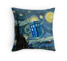 British Blue phone box painting Throw Pillow