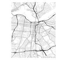 Louisville Map, USA - Black and White Photographic Print