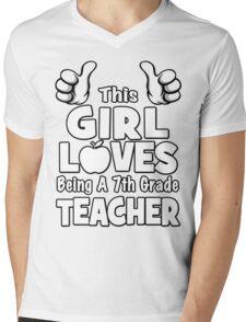 This Girl Loves Being A 7th Grade Teacher Mens V-Neck T-Shirt