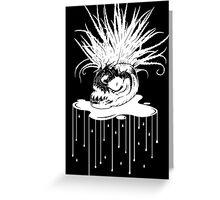WHT on BLK: Piranha Planet  Greeting Card