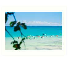 Waiting For Waves at Noosa's First Point Art Print