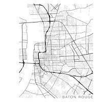 Baton Rouge Map, USA - Black and White Photographic Print
