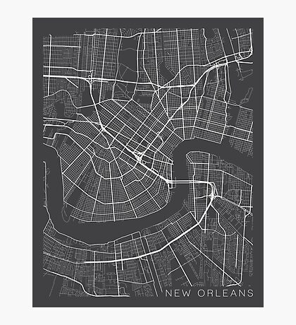 New Orleans Map, USA - Gray  Photographic Print