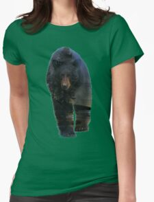 Animal Tracks - Black Bear and Snow Womens Fitted T-Shirt