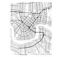 New Orleans Map, USA - Black and White Photographic Print