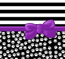 Ribbon, Bow, Dog Paws, Stripes - White Black Purple by sitnica