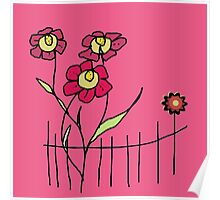 Flower behind the fence Poster