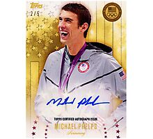 """MICHAEL PHELPS - topps certified autograph issue """" swimming """" Photographic Print"""