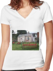 Old School Crofting equipment Women's Fitted V-Neck T-Shirt