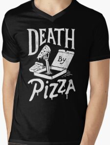 Death By Pizza Mens V-Neck T-Shirt