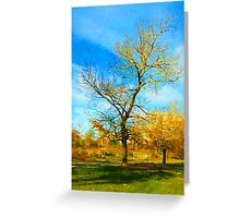 Winter Tree with Golden Branches Greeting Card