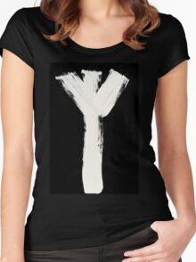 Runes - Elder Futhark - 0015 - Algiz - Inverted Women's Fitted Scoop T-Shirt