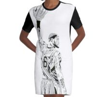 JAMES LEBRON art black white NBA Graphic T-Shirt Dress