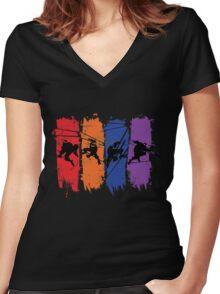TEENAGE MUTANT NINJA TURTLES Women's Fitted V-Neck T-Shirt