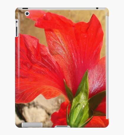 Back Of A Red Hibiscus Flower Against Stone iPad Case/Skin