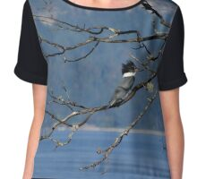 Kingfisher on Bare Branch Chiffon Top
