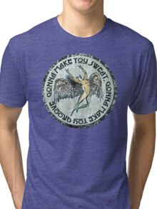 ICARUS THROWS THE HORNS - sweat and groove NEW DESIGN Tri-blend T-Shirt
