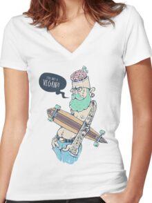 Vegan Hipster Women's Fitted V-Neck T-Shirt