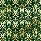 Damask Glitter Gold Dark Green Classic Elegant by Beverly Claire Kaiya